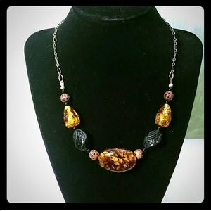 6 for $20 amber and wood beaded necklace